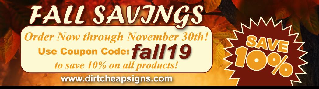 fall savings cheap signs