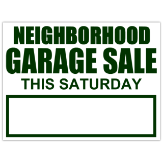Neighborhood Garage Sale Sign Yard Sale Signs