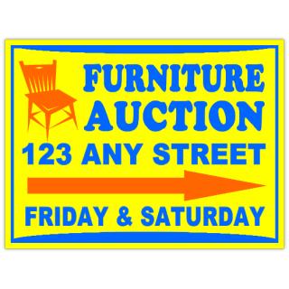 furniture auction signs liquidation sign. Black Bedroom Furniture Sets. Home Design Ideas