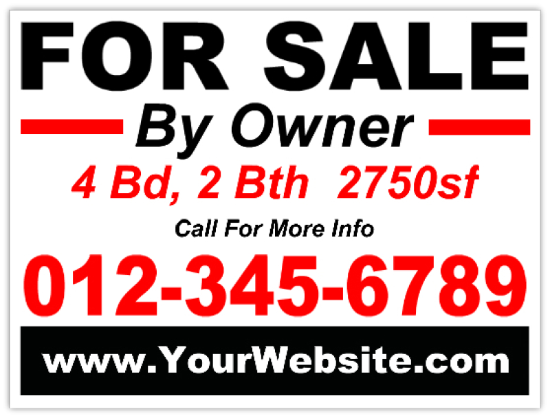 For sale by owner real estate sign for For sale by owner sign template