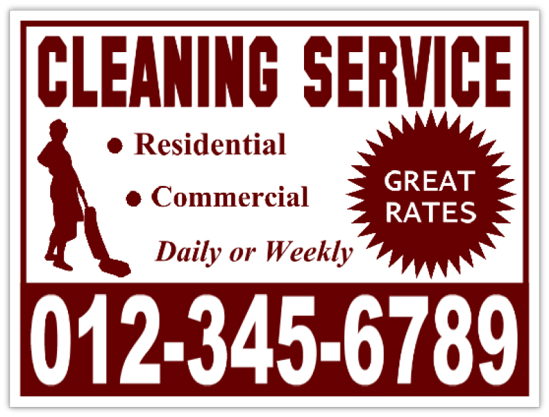 Cleaning Services Sign Residential Cleaning Yard Signs