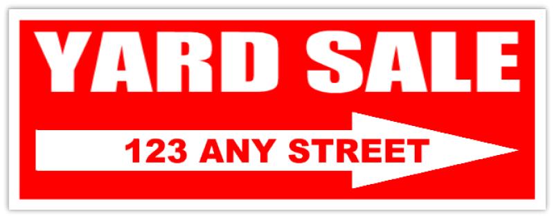 custom yard sale sign with arrow red yard sale sign. Black Bedroom Furniture Sets. Home Design Ideas