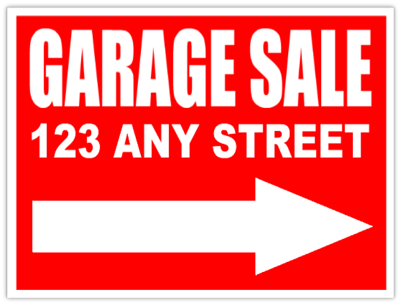 picture about Sales Signs Templates identify Garage Sale Indicator with arrow - Backyard Revenue Advertisement
