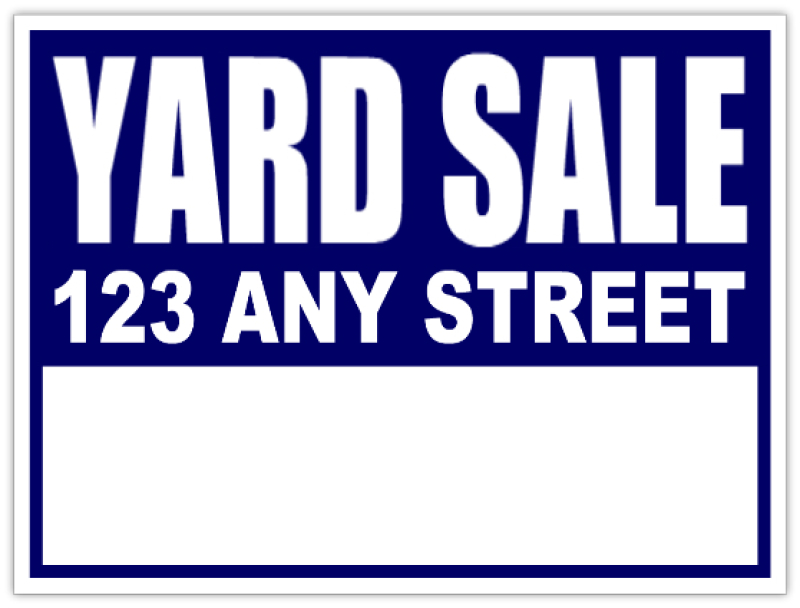 Yard Sale Signs Neighborhood Sale Blue Lawn Sign