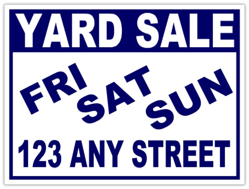 weekend yard sale sign garage sale signs. Black Bedroom Furniture Sets. Home Design Ideas
