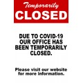 Temporarily Closed Office Sign